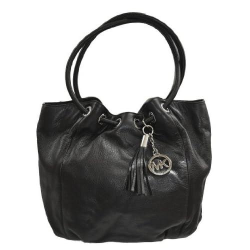 Michael Kors Black Leather MD Ring Tote Handbag Bag Purse