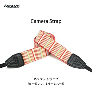 ARNUVO ネックストラップ カメラストラップ 一眼レフ用 インディアン (レッド) ライン/ボーダー AR0088