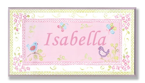 The Kids Room by Stupell Isabella, Pink and Green Chickadees Personalized Rectangle Wall Plaque