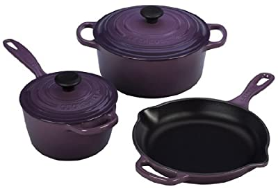 Le Creuset Signature 5-Piece Cast Iron Cookware Set, Cassis