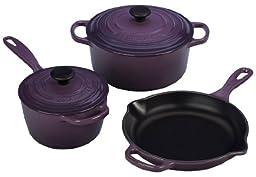 Le Creuset Signature 5-Piece Cast Iron Cookware Set, Cassis