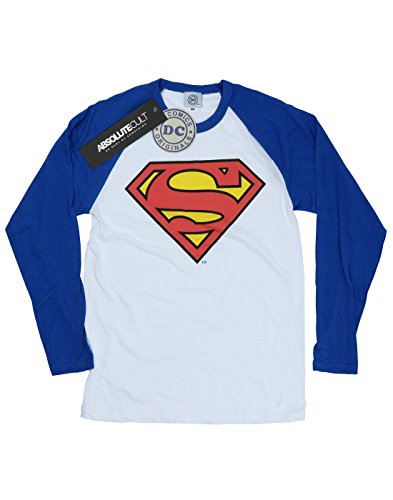 DC Comics Donna Superman Logo Camicia a maniche lunghe da baseball Medium Bianco / Royal Blue