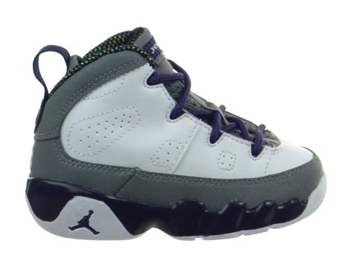 Jordan 9 Retro (TD) Girls Baby Toddlers Shoes White/Imperial Purple-Cool Grey 401812-109-9.5