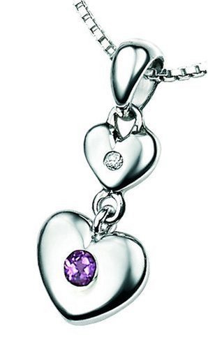 D for Diamond Sterling Silver P2951 Girls Amethyst and Diamond Set Double Heart Pendant - February Birthstone