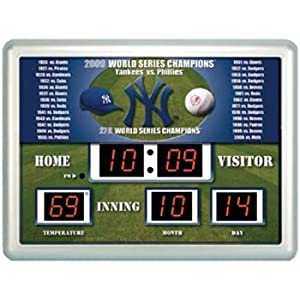 New York Yankees World Series Champions MLB Scoreboard Clock and Thermometer by Evergreen