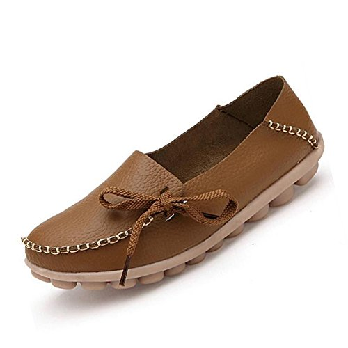 CIOR Women's Genuine Leather Loafers Casual Moccasin Driving Shoes Indoor Flat Slip-on Slippers,M911,Khaki,38