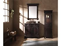 "Hot Sale James Martin Furniture 36"" Mahogany Bosco Single Sink Bathroom Vanity w/ Cream Marble Top"