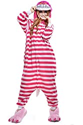 Newcosplay Unisex Cheshire Cat Pyjamas Kigurumi Halloween Costume