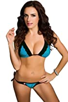 Amour- Sexy Lingerie Red Lace White Top+tie Buttom Bikini Set (Blue)