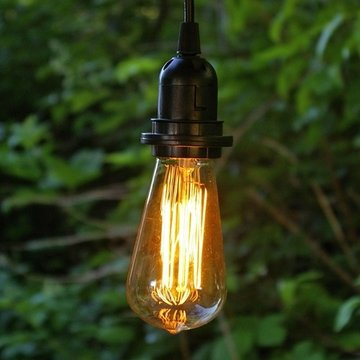 Pendant Light With Antique Bulb, 15 Foot Black Cord, Plug-In, Edison