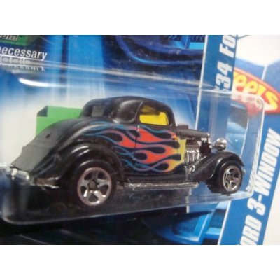 Hot Wheels '34 Ford 3-Window #190 '06 Black 5 Spoke With Flames 1/64 Collector