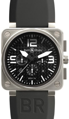 Bell and Ross Aviation Black Carbon Fiber Dial Titanium Case Mens Watch BR0194-TITANIUM