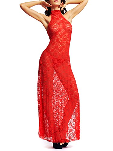 Amoretu Womens Floral Lace Lingerie Long Cheongsam Side Split Gown Red
