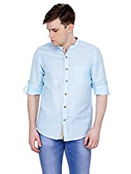 4Stripes Men's Cotton Linen Shirt (4ssh025_L_BLUE)