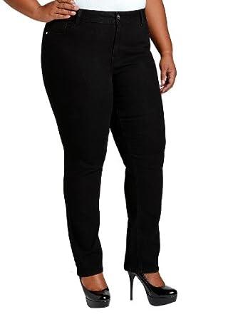 Ashley Stewart Women's Plus Size Average Skinny Five Pocket Denim - Color: Black, Size: 12
