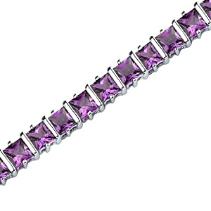 Gracefully Impressive: 10.00 carats total weight Princess Cut Amethyst Gemstone Bracelet in Sterling Silver Rhodium Nickel Finish from peora