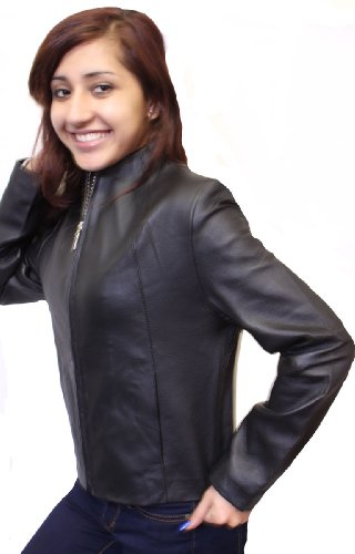 Women's Black Collar Less Genuine Leather Jacket