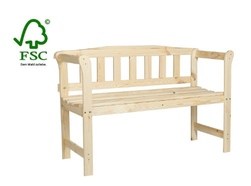 Wooden Garden Bench with a bar rest, nature