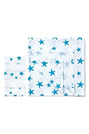 5 Pack Star Print Muslin Cloths