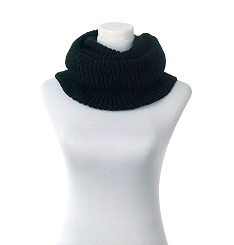 Loritta Women's Winter Warm Infinity Scarf Ribbed Knit Circle Scarf Cowl Black (Cowl Scarf compare prices)