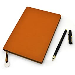 Leather Notebook, izBuy Classic Vintage Notebook Diary Medium Size for Men/women 240 Lined Beige Pages-Mediterranean Style 0.5mm Smooth Gel Pen Included (Yellowbrown)