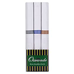Osmonde Mens Essential Cotton Handkerchiefs Pack of 3