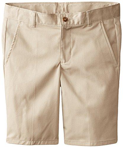 Izod Little Boys' Flat Front Uniform Short, Khaki, 14 Husky