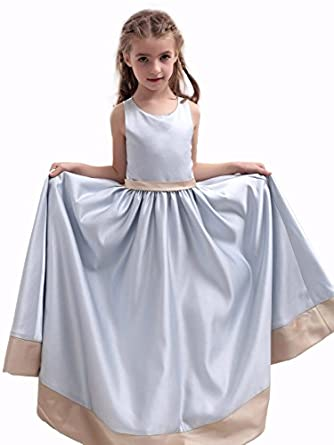Landybridal 2013 New Style Size US2 A Line Tank Top Floor Length Satin Blue Girls Christmas Dress G12012