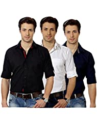 Entigue Stylish & Unique In Cotton Material Men's Solid Casual Shirt (Pack Of 3) (Black::White::Navy Blue)