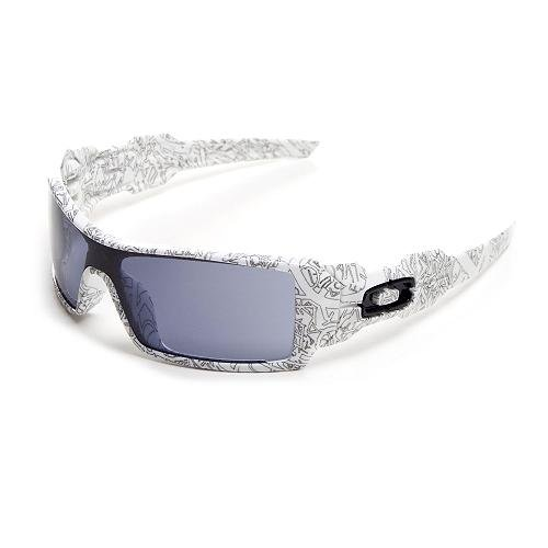 Oakley Oil Rig Sunglasses White With Text/Warm Grey, One Size