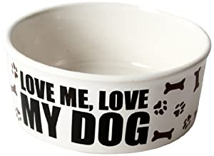 "DEI Stoneware Just Dogs Collection ""Love Me, Love My Dog"" Bowl, 6-Inch"