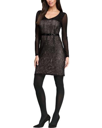 Comma Damen Kleid (knielang) Regular Fit 81.312.82.2700 KLEID KURZ, Gr. 34, Mehrfarbig (9999 black)