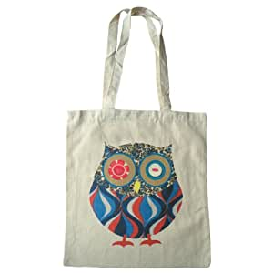 Owl cotton tote bag with long handles