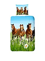 GOOD MORNING Juego De Funda Nórdica  Horses (Multicolor)