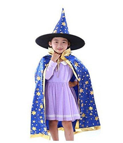 [Boy Girl Kids Children Christmas Halloween Witch Wizard Cloak Gown Robe + Hat (blue)] (Girls Festive Witch Costumes)