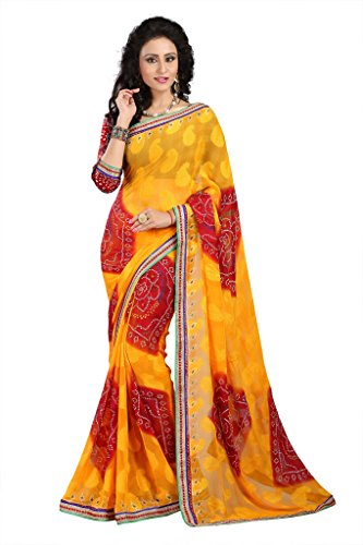 GL Sarees Casual Printed Yellow Brasso Saree For Women