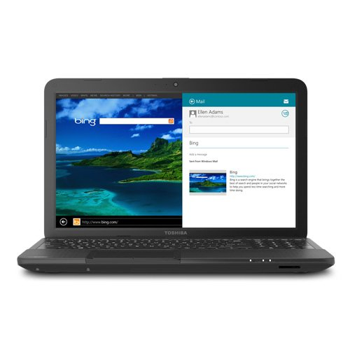 Toshiba Satellite C855D-S5303 Laptop Computer / 15.6-inch HD Display Screen / AMD Dual-Core E-300 1.3 GHz Processor / 2GB DDR3 RAM Memory / 320GB Hard Drive / Double-layer DVD±RW / 6-cell Battery / Webcam / Windows 8 / Satin Black