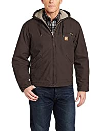 Carhartt Men\'s Sherpa Lined Sandstone Sierra Jacket J141,Dark Brown,Large