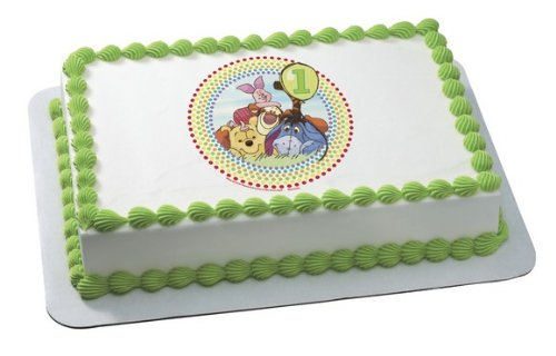 WINNIE THE POOH BEAR TIGGER HAPPY FIRST 1ST BIRTHDAY Edible Image FROSTING SHEET Cake Topper - 1