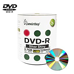 Smartbuy 100-disc 4.7gb/120min 16x DVD-R Shiny Silver Blank Data Recordable Media Disc