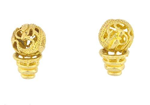 Mandala Crafts® Dragon Holllow Brass Guru Beads, Set of Two