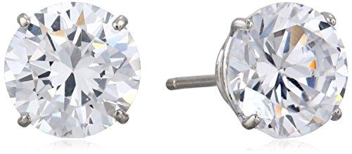 14K White Gold Round-Cut Cubic Zirconia Stud Earrings (2.5 Cttw, Diamond Equivalent)