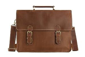 Handmade Italian Brown Leather Briefcase Men's Messenger Bag Laptop Bag Crossbody Shoulder Bag