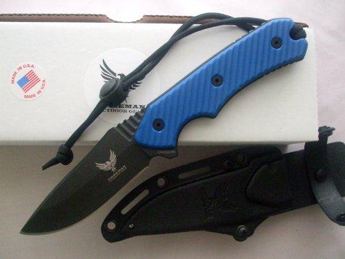 "Freeman Outdoor Gear 451 4"" Fixed Blade Knife Black Blade Blue Handle"