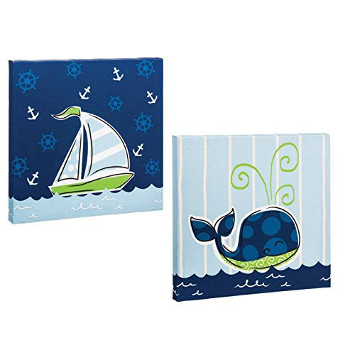 Whale and Sailboat Out Canvas Boys Wall Hangings