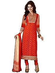 Orange Fab Women's Orange Embroidery Pakistani Straight Dress Material