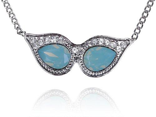 Masquerade Mask Alien Sunglasses Blue Opal Swarovski Crystal Rhinestone Necklace