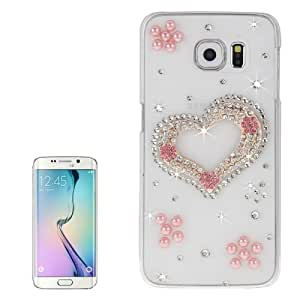 Crazy4Gadget Transparent Diamond Encrusted Heart Pattern Protective Case for Samsung Galaxy S6 Edge / G925