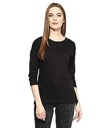 Hypernation Black Color Round Neck Cotton T-shirt