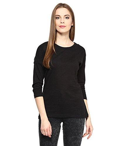 Hypernation-Black-Color-Round-Neck-Cotton-T-shirt